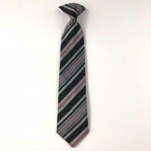 Boys Clip On Neck Tie Black Gray Red Thin Stripes
